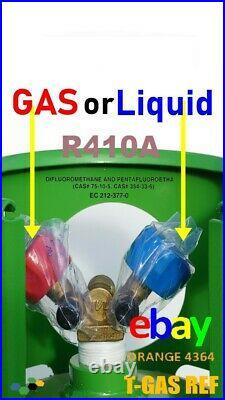 R410a Refrigerant Gas 10kg Virgin Refillable Cylinders DOUBLE VALVE 1/4