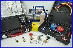 Refrigerant Vacuum Pump + 100KG scale + 3 way manifold gauge R410a R134a R404a